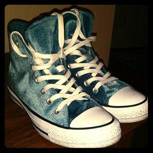 Velvet high top converse sneakers